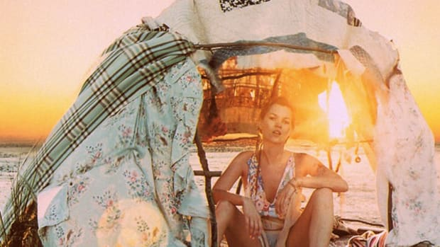 Kate Moss camping