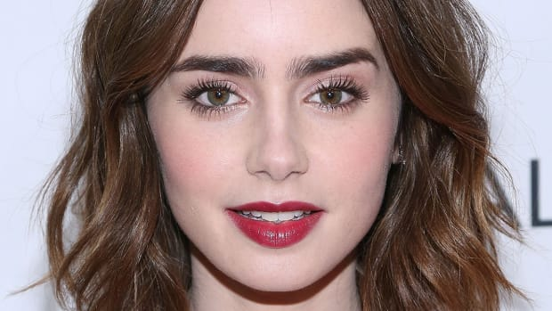 Lily Collins medium wavy hair