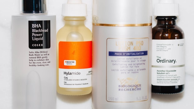 Acids and vitamin C skincare routine