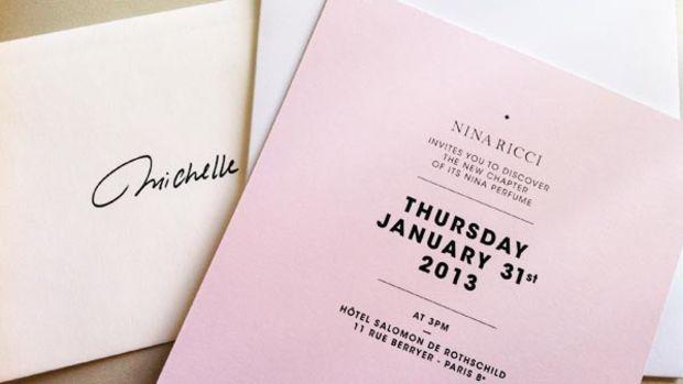 Nina Ricci L'Eau launch invitation
