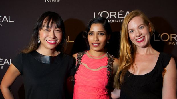 Freida Pinto with Karen and Michelle