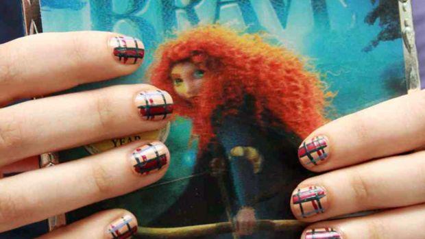Tartan Brave nail art by Butter London