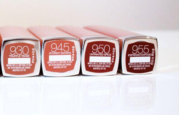 Maybelline New York The Buffs Lipstick shades 930, 945, 950, 955