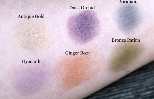 Aveda Petal Essence Single Eye Colours in Dusk Orchid, Viridian, Ginger Root, Hyacinth, Bronze Patina and Antique Gold swatches