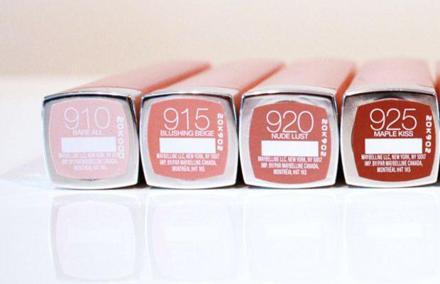Maybelline New York The Buffs Lipstick shades 910, 915, 920, 925