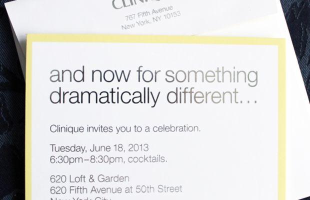 Clinique Dramatically Different party invitation