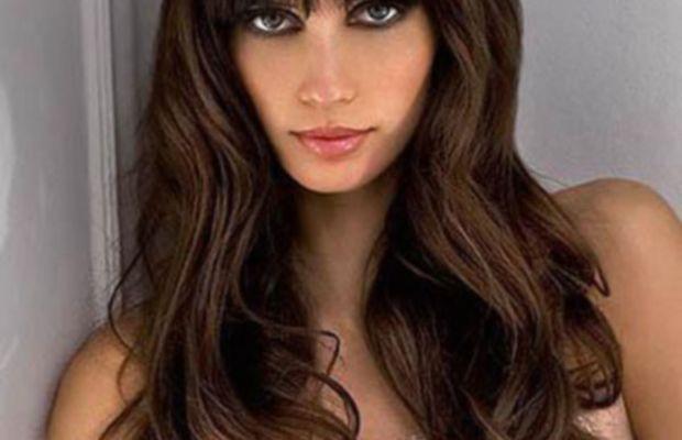 Long brown hair with bangs