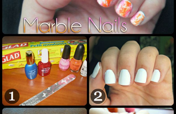 Marble nails collage