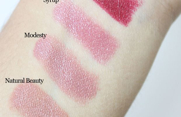 Brown and berry lipstick swatches