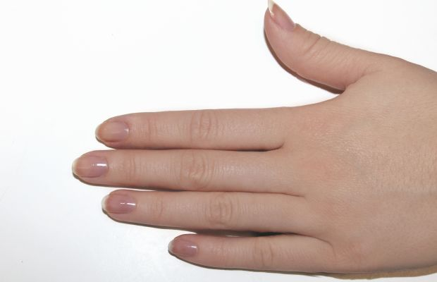 Eggshell nail art step 1