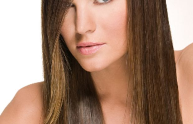 Straight hair with deep side part