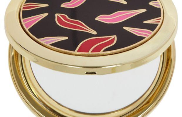 Diane von Furstenberg Lip Print Gold-Tone and Resin Compact Mirror
