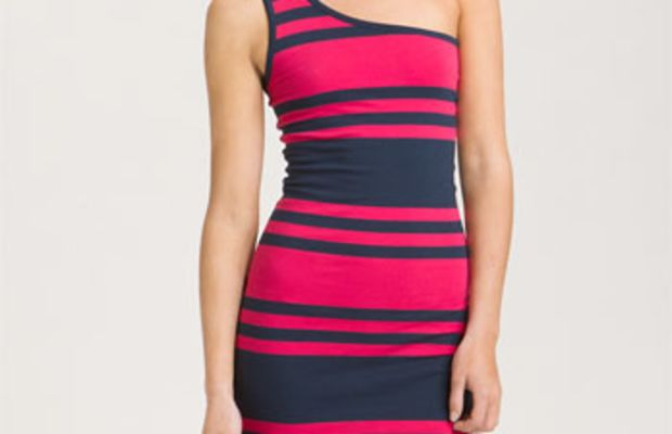 French Connection Stripe Jersey One Shoulder Sheath Dress
