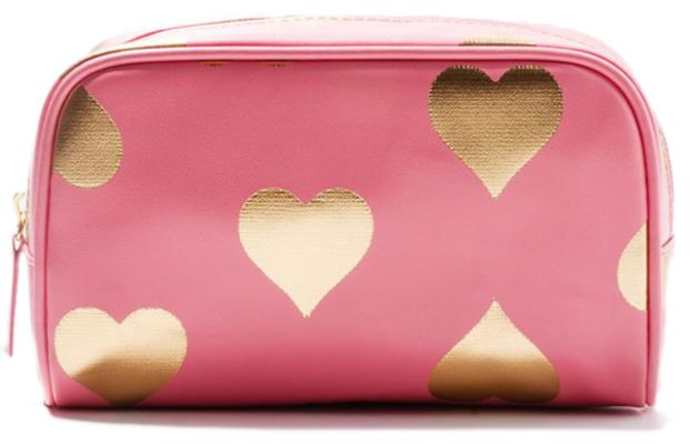 Forever21 Metallic Heart Cosmetic Bag