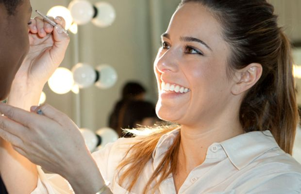Jenna Menard creating makeup look at Karen Walker FW12