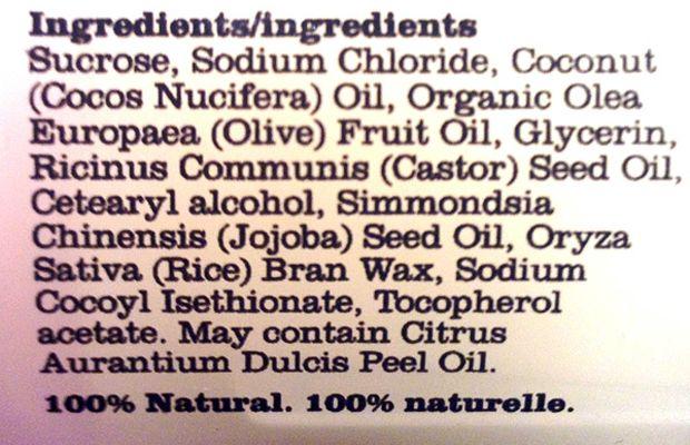 Consonant Body Scrub review (ingredients)