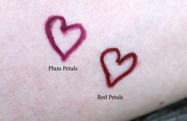 Aveda Nourish-Mint Lip Liner in Red Petals and Plum Petals swatches
