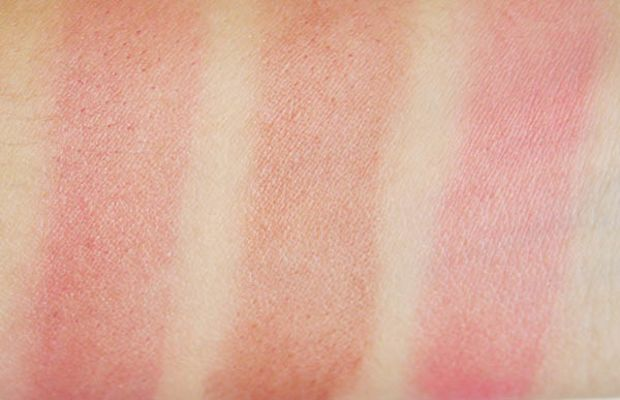 Maybelline Master Glaze Blush in Make a Mauve, Plums Up and Coral Sheen blended swatches