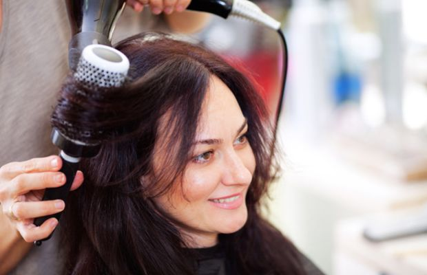 Woman getting blow dry