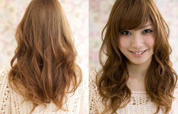 Soft layers and bangs with reddish colour