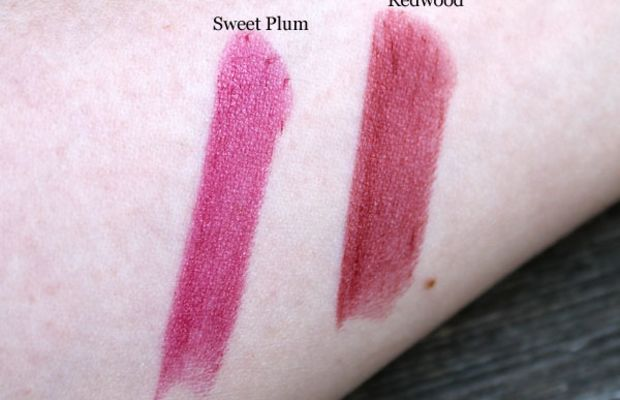 Aveda Nourish-Mint Smoothing Lip Colour in Sweet Plum and Redwood swatches