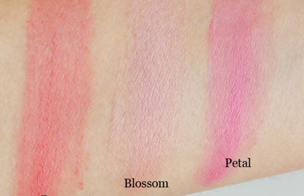 Sonia Kashuk Creme Blush in Rosey, Blossom and Petal swatched