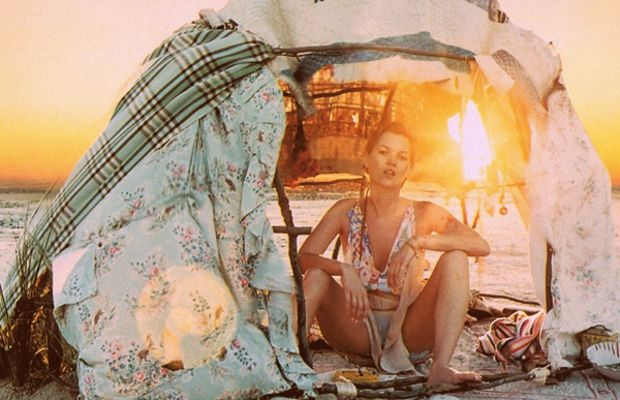 Kate Moss camping