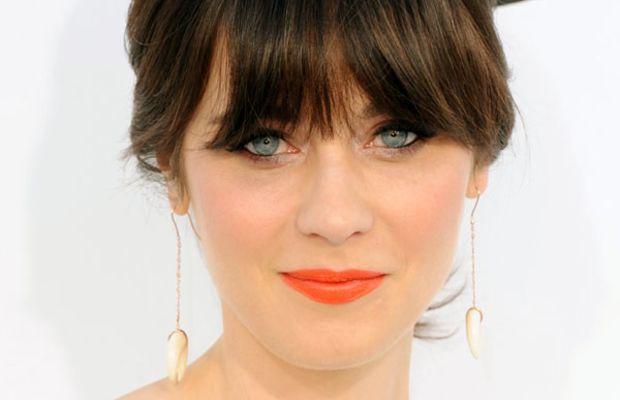 Zooey Deschanel - orange lipstick