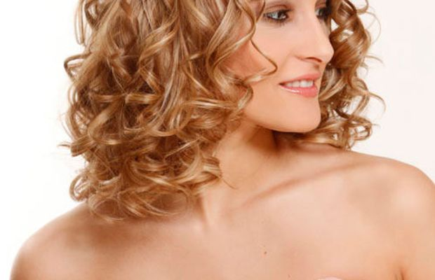 Blonde curly shoulder-length hair