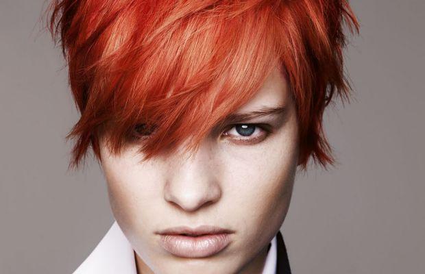 Short bright red hair