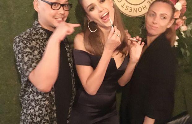 Jessica Alba with beauty team