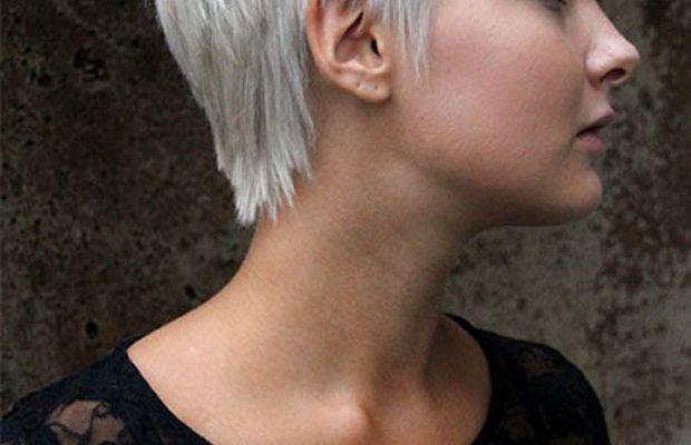 Grey pixie cut