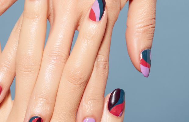 Madeline Poole for Sally Hansen fall 2015 swirl nails