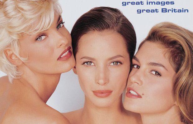 Linda Evangelista, Christy Turlington and Cindy Crawford on Vogue UK 1991 cover
