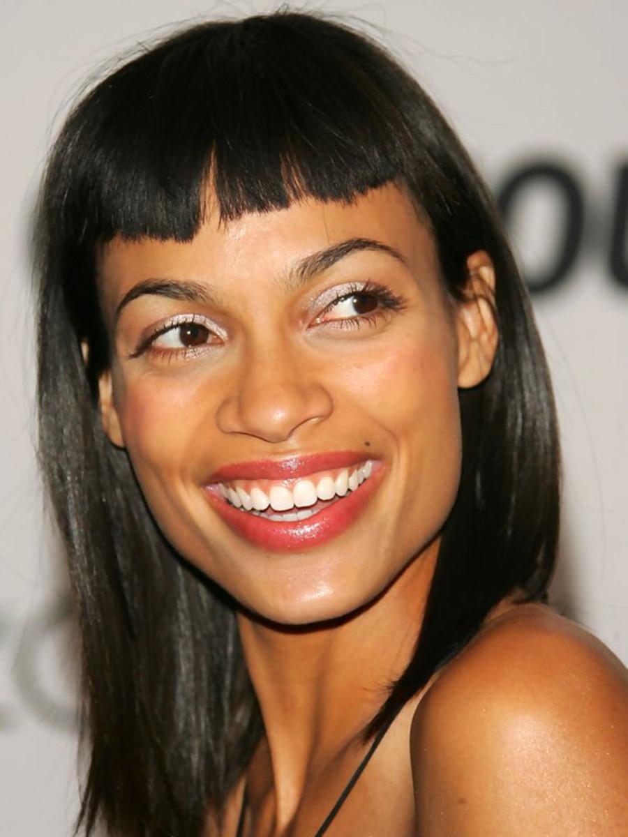Rosario Dawson square face bangs
