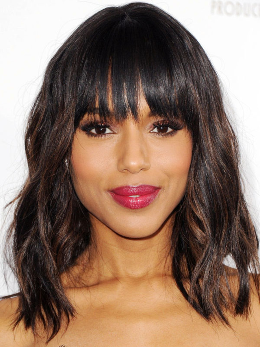 Kerry Washington heart face bangs