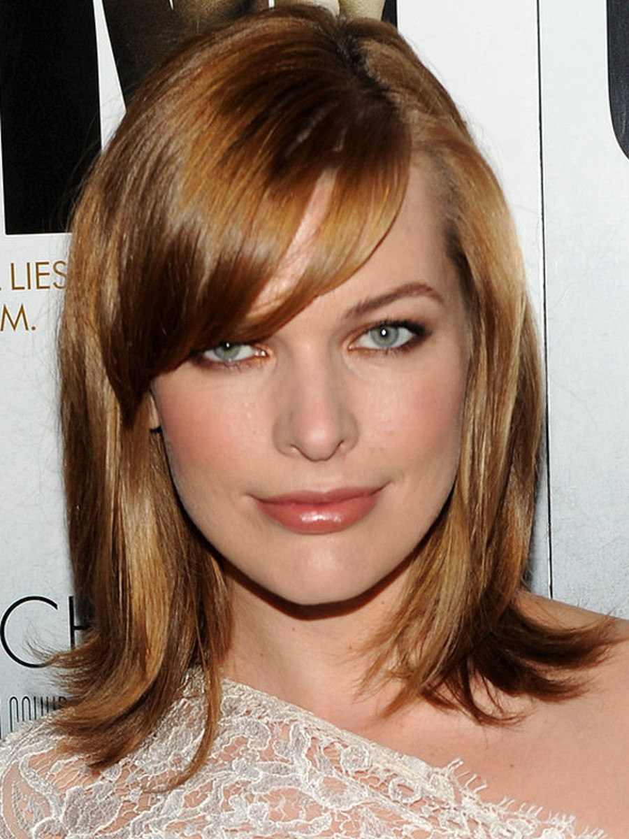 Milla Jovovich heart face bangs