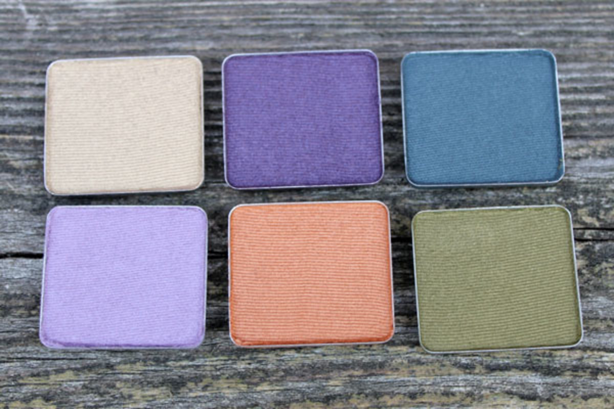 Aveda Petal Essence Single Eye Colours in Dusk Orchid, Viridian, Ginger Root, Hyacinth, Bronze Patina and Antique Gold