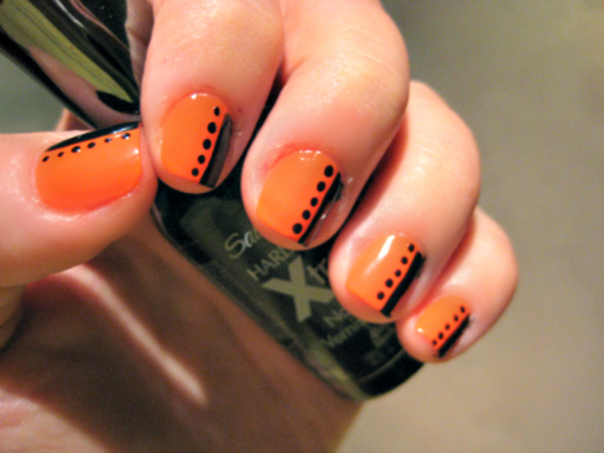 Try This Orange and Black Nail Art Tutorial For Halloween ...