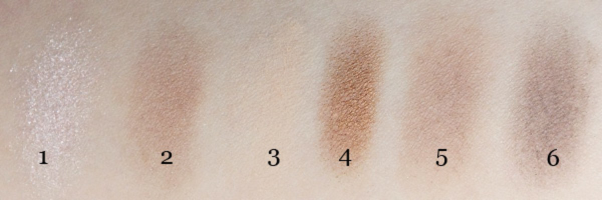 Maybelline The Nudes Eyeshadow Palette swatches (1-6)