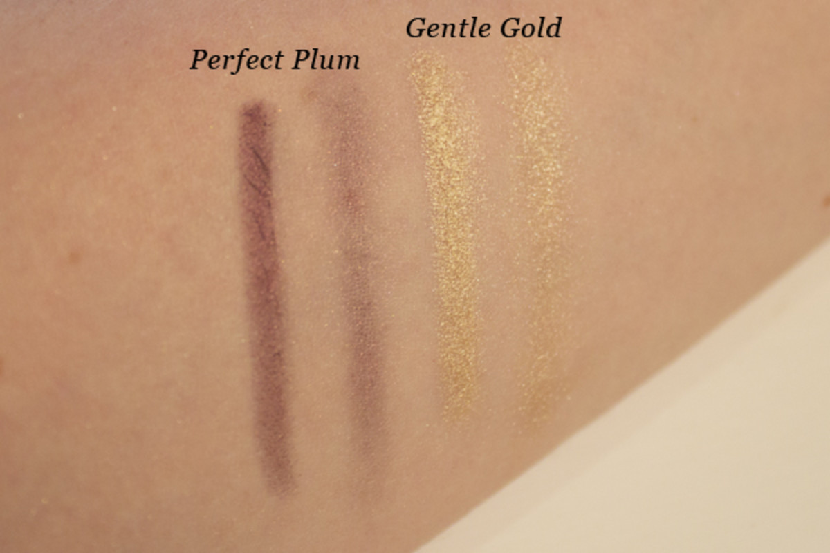 Pixi Lid Last Shadow Pen Gentle Gold and Perfect Plum - swatched
