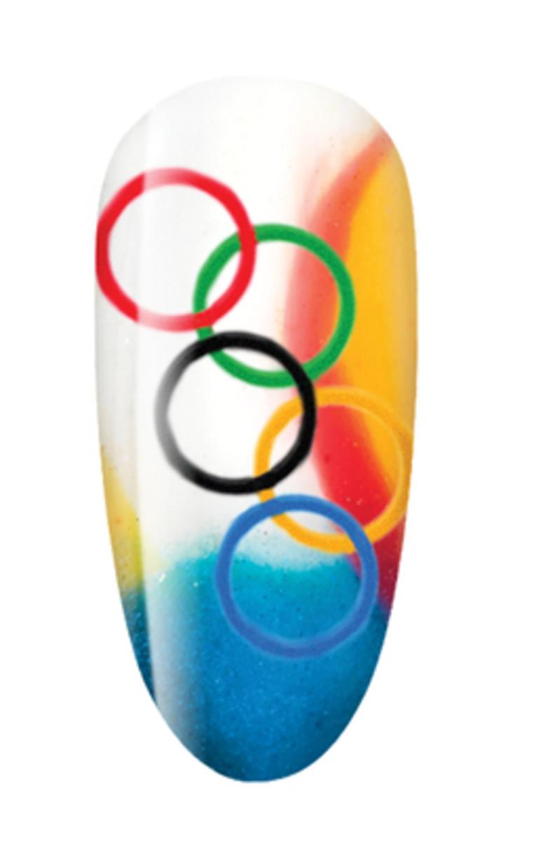 CND Shellac Olympic Spirit nail art