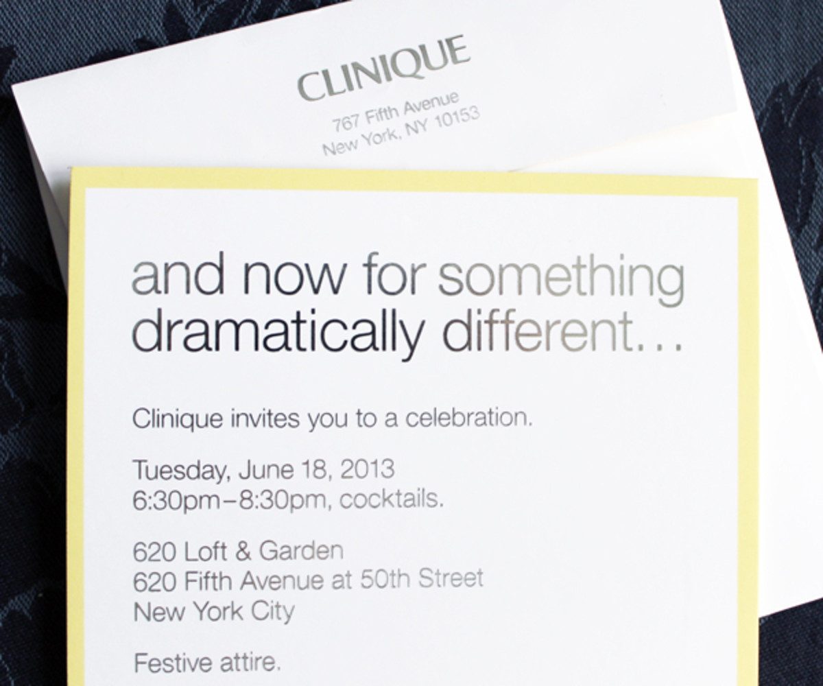 Clinique Dramatically Different party invitation