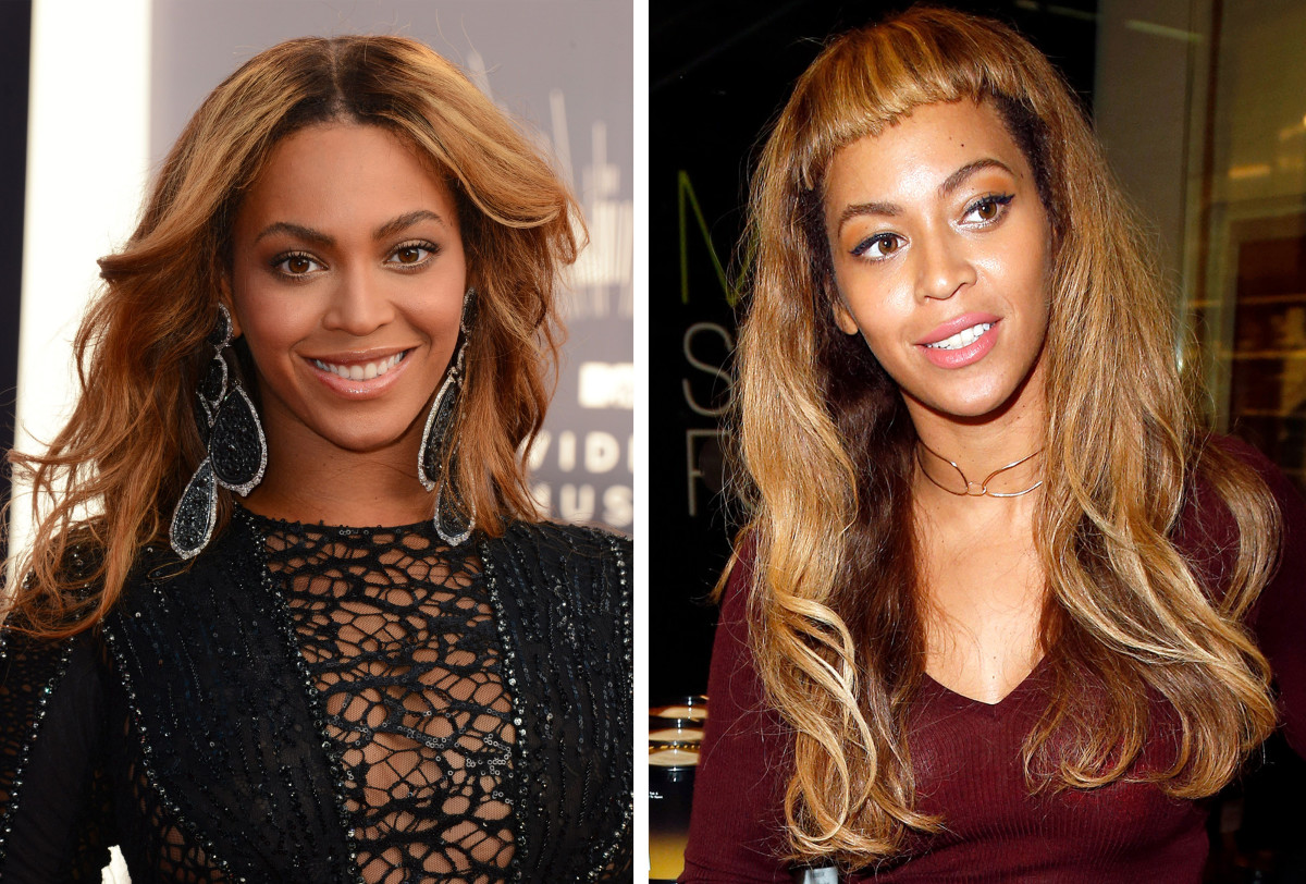 Beyonce short bangs before and after