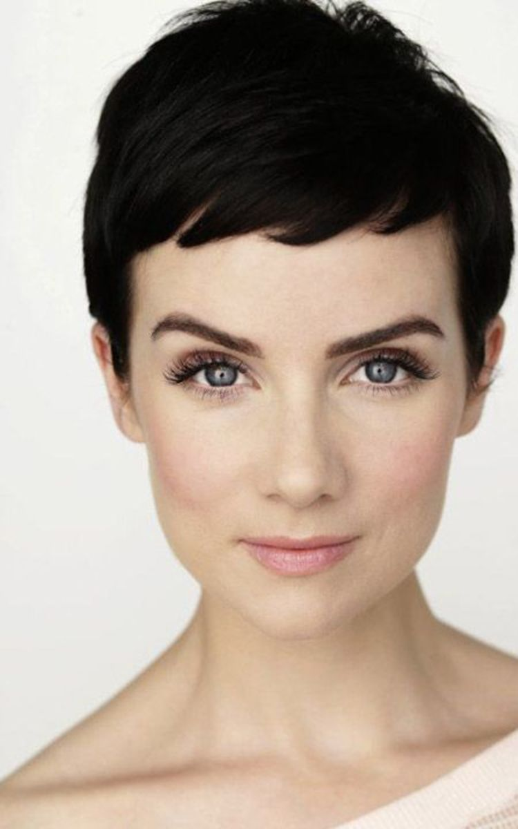 Brunette pixie haircut