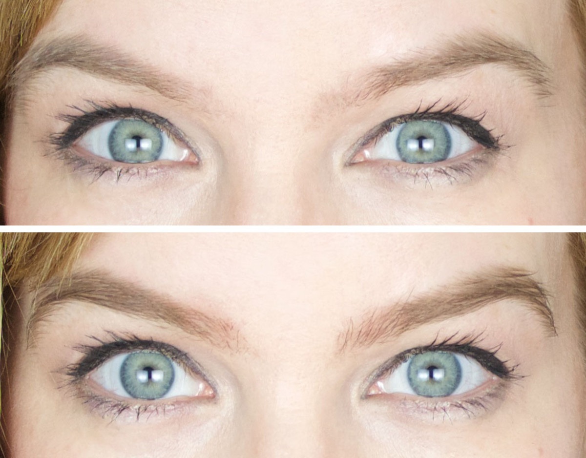 Maybelline Brow Drama before and after close-up