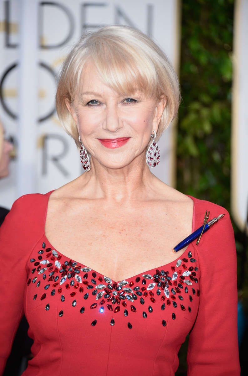 Helen Mirren Fakes within 67 of the best beauty looks at the golden globes - beautyeditor