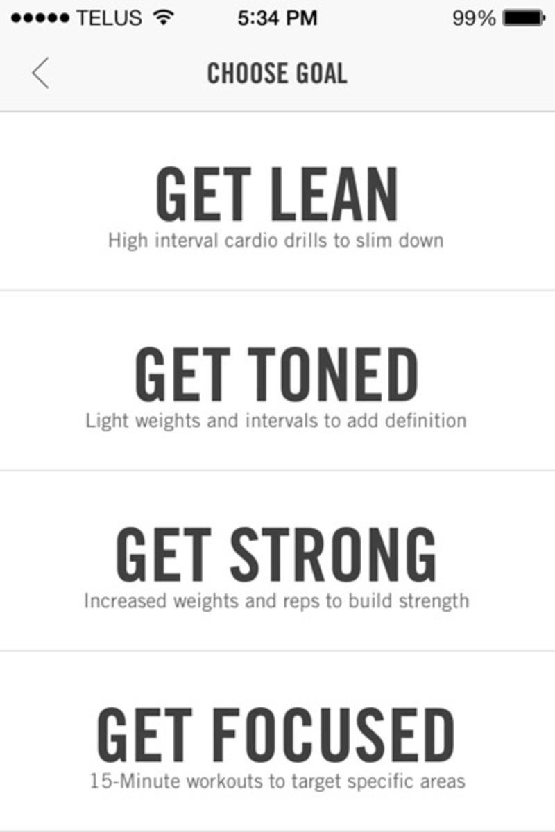 Nike NTC app goals