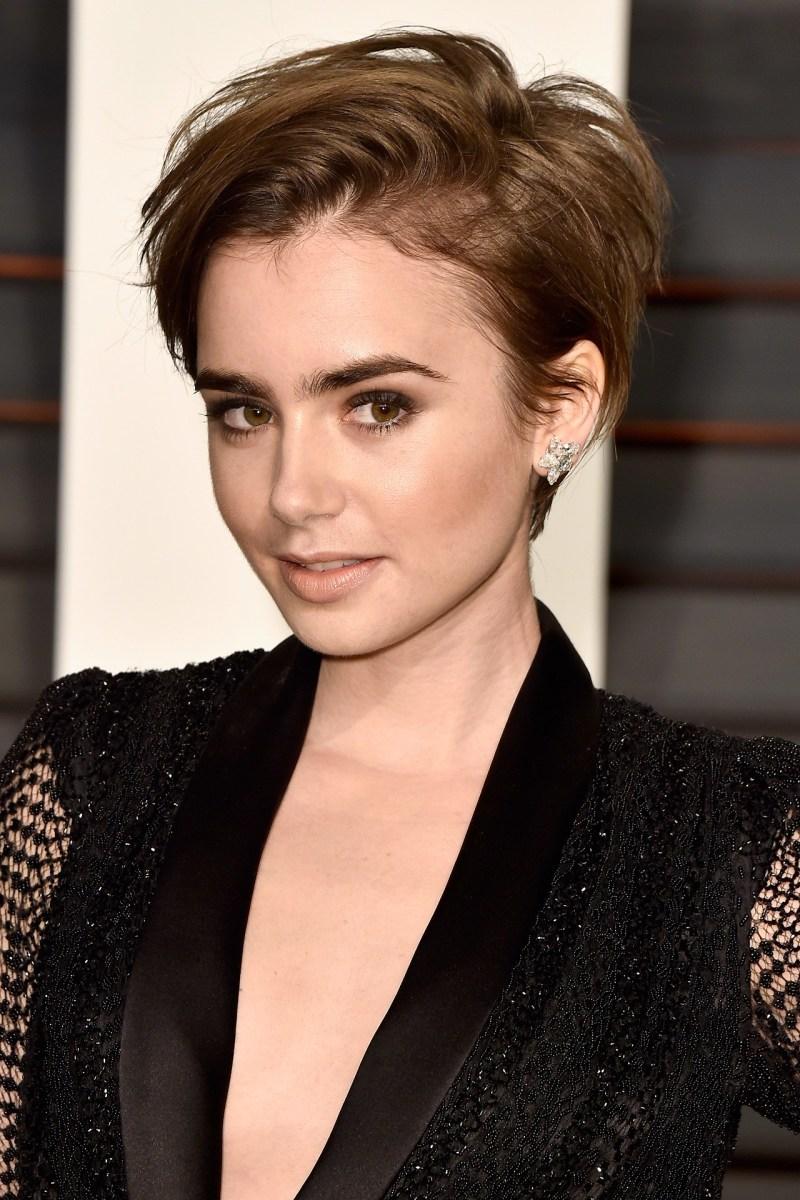 Lily Collins, Vanity Fair Oscar party, 2015