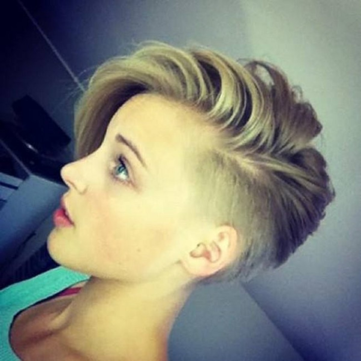 Half shaved short hairstyle